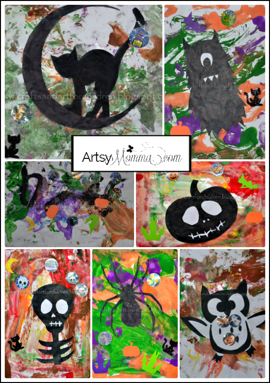Halloween Silhouette Paintings for Kids