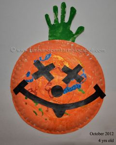 Paper Plate Pumpkin - Halloween Handprint Craft