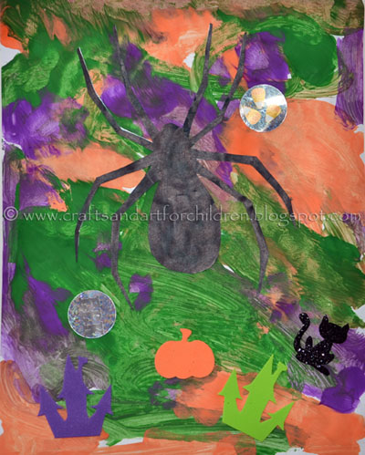 Halloween Paintings for kids: Spider Template