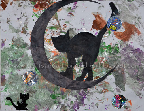 Toddler Halloween Painting: Black Cat and Moon Silhouette