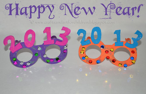 Kids New Year's Glasses Crafts - Year