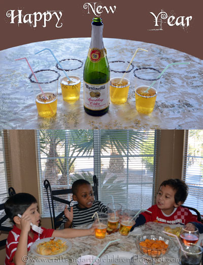Kids New Year Party Drinks - Mocktails with Edible Glitter