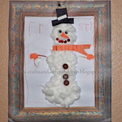 Framed Cottonball Snowman Craft for Kids
