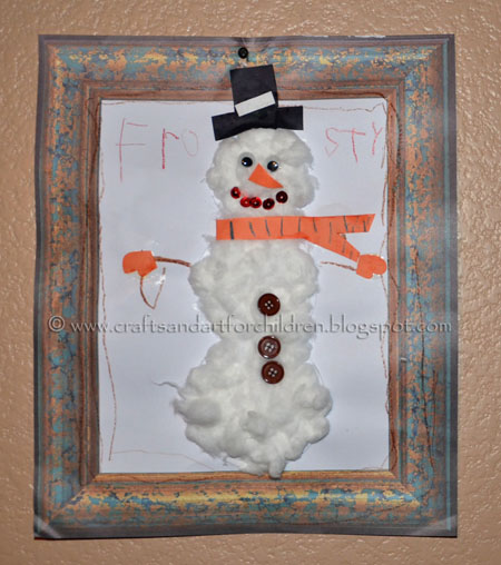 Cottonball Snowman Craft for Kids, Winter Art Project
