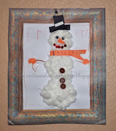 Cottonball Snowman Craft for Kids, Winter Art Project
