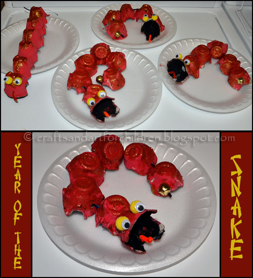 egg carton snake chinese new year craft for kids - Chinese New Year Activities