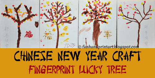 Chinese New Year Craft: Fingerprint Lucky Tree