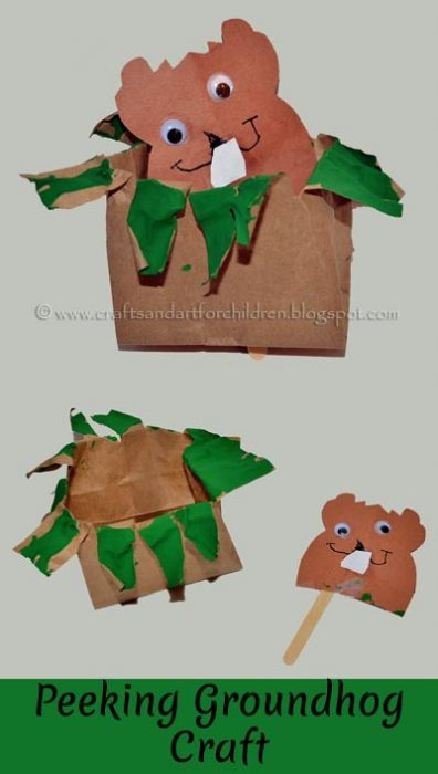 Paper Bag Groundhog Puppet Craft