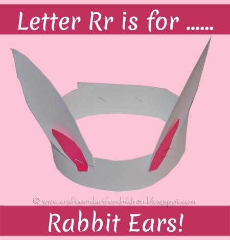 Bunny Ears Headband. Letter Rr Craft