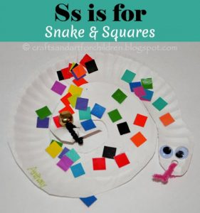 Letter S - Paper Plate Snake and Squares Craft