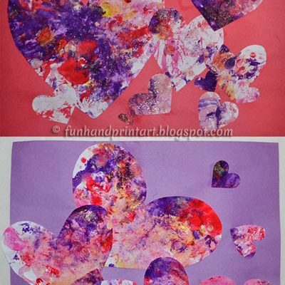 Toddler Heart Collage – Valentine's Day Process Art Painting