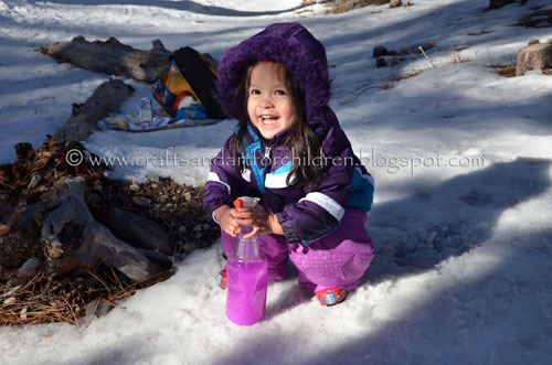 snow painting - fun kids activity