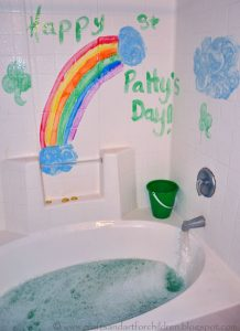 St. Patrick's Day Themed Bubble Bath Play Activity with Gold Coins