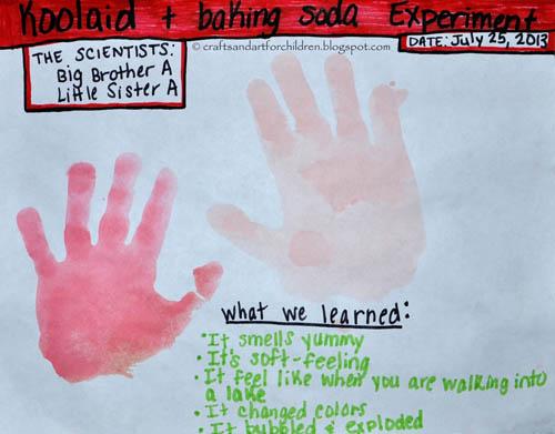 Koolaid Baking Soda Science Experiment for Kids