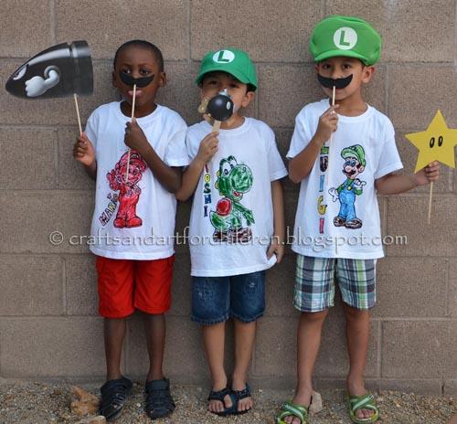 Mario Kart Playdate +a DIY Color-your-own T-shirt tutorial