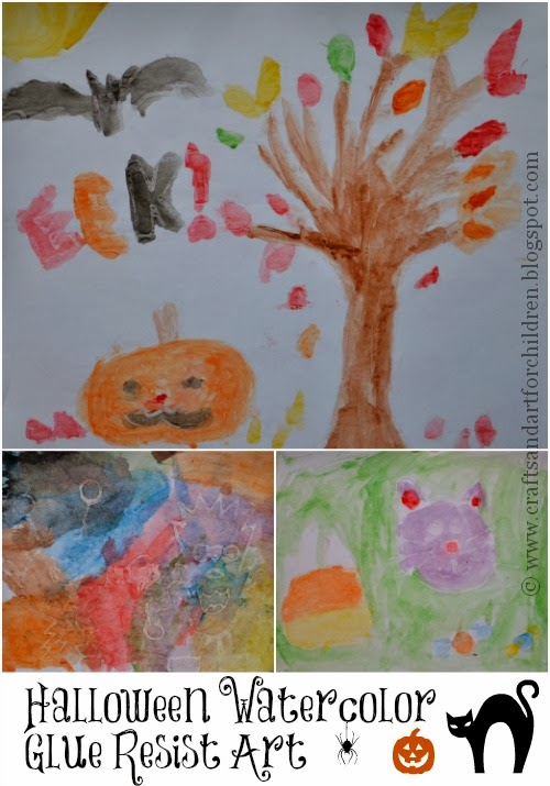 Halloween Kids Craft – Watercolor Glue Resist Art