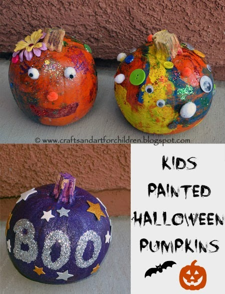 Kids Carved and Painted Halloween Pumpkins