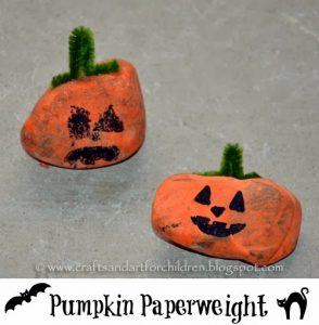 Pumpkin Paperweights | Painted Stone Craft for Kids