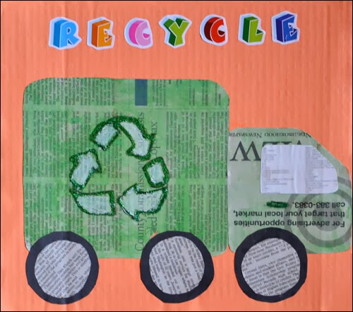 Recycling truck craft kids newspaper art artsy momma for Recycling ideas for kids
