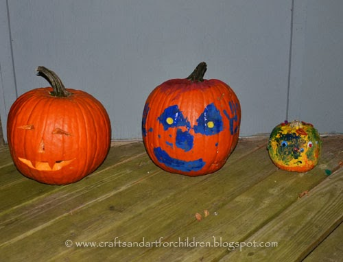 Kids Carved and Painted Pumpkins