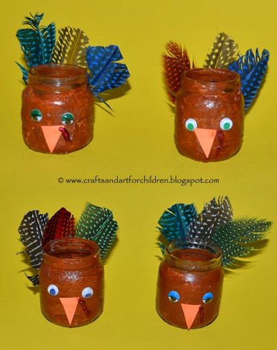 Thanksgiving Turkey Craft made from Baby Food Jars #kidscrafts