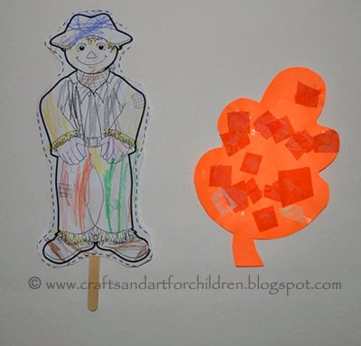Fall Kids Crafts - Scarecrow and Leaf