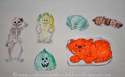Halloween Coloring Page Cut Outs