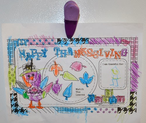 Kids Thanksgiving COloring Page Placemat Activity