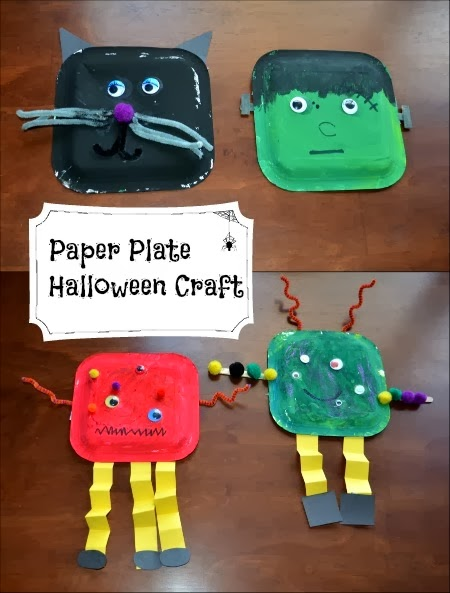 Paer Plate Halloween Characters - Halloween Crafts for Kids