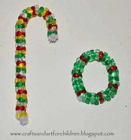 Beaded Candy Cane Ornament Made From Tri-beads