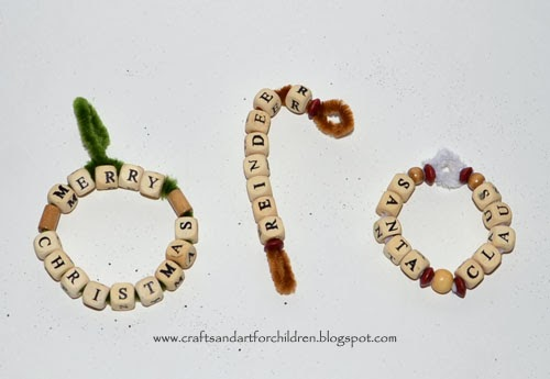 Wood Bead Christmas Word Ornament Crafts