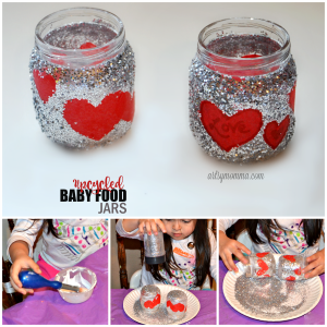 Upcycled Baby Food Jar: Valentine's Day Candle Jar Holder or Treat Jar