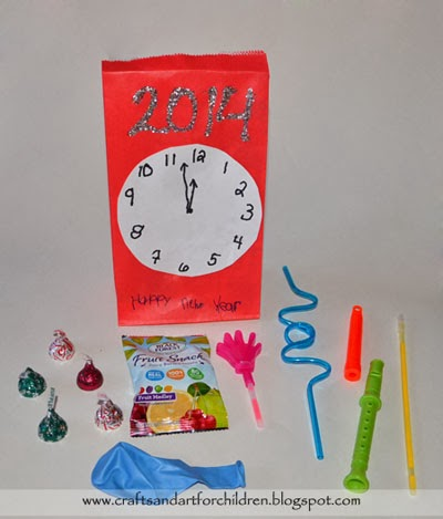 New Year's Clock Inspired Party Favor Bags