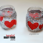 Glittery Upcycled Baby Food Jar Candle Holders for Valentine's Day!