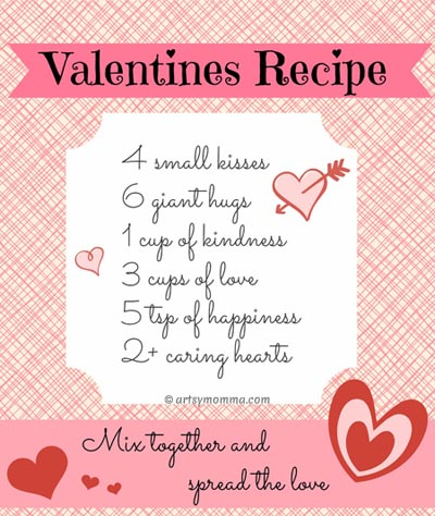 sweet recipe for valentine's day poem {free printable} - artsy momma, Ideas