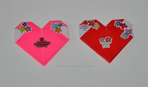 Heart-shaped Origami Craft - Valentine's Lollipop Wrapper Idea