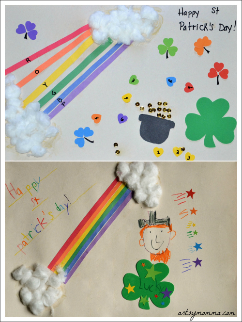 St. Patrick's Day Rainbow Craft that teaches the colors with hearts, shamrocks, a leprechaun, and a pot of gold.