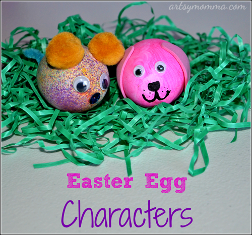Easter Egg Characters: Egg-shaped Dog & Mouse