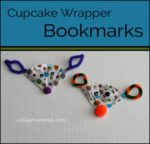Cupcake Liner Bookmark craft for kids