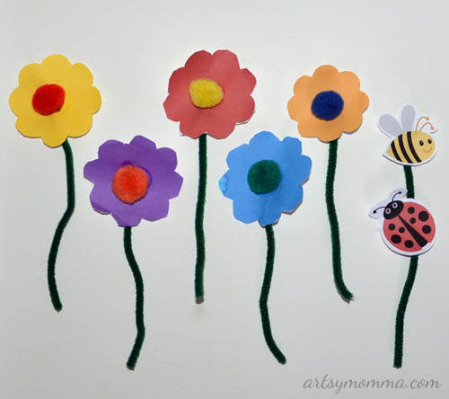Pipe cleaner flower craft for kids