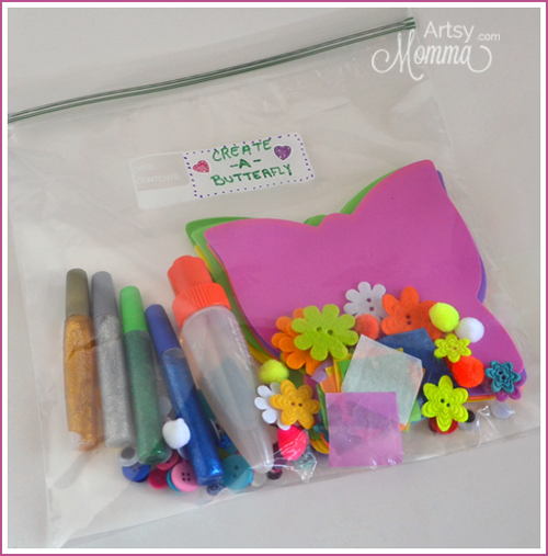 Create-a-Butterfly Busy Bag for crafting on-the-go