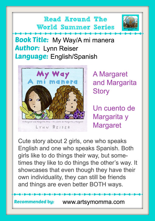 Spanglish book reviews for kids: My Way - A mi manera is a cute story about 2 girls from the Margaret and Magarita book series.