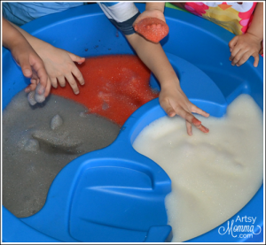 Playing with Bubbly Soap Foam Sensory Activity for Kids