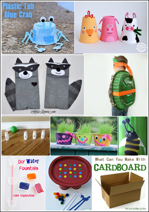 Kids upcycled crafts for Recycling ideas for kids