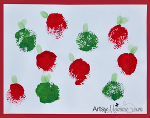 Painting with a Loofah | Stamped Apple Craft for Kids