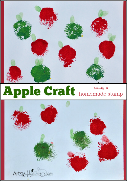 Stamped Apple Craft - Painting with a Loofah
