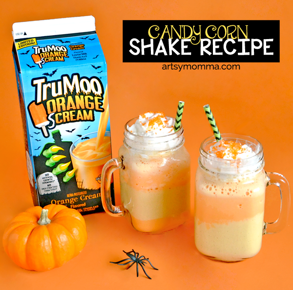 Layered Candy Corn Shake for Halloween