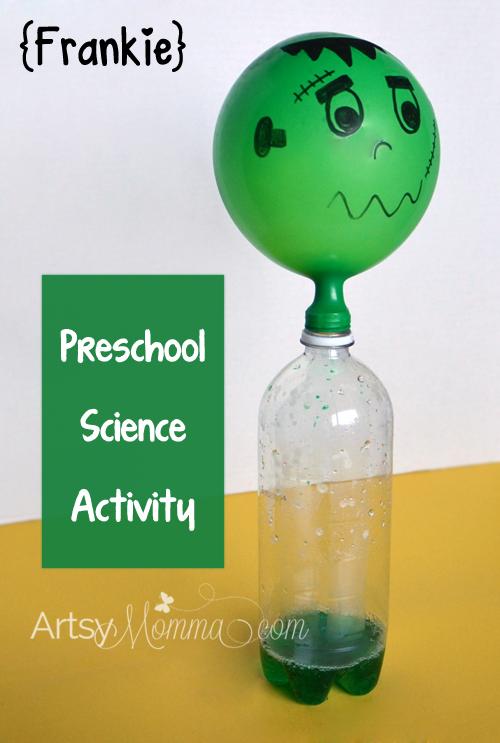 Halloween Science Activity for Preschoolers - Self-inflating Frankenstein Balloon