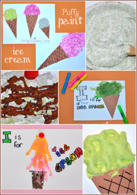 Puffy Painted Ice Cream Cones, DIY Puffy Glitter Paint, Handprint Ice Cream Cone