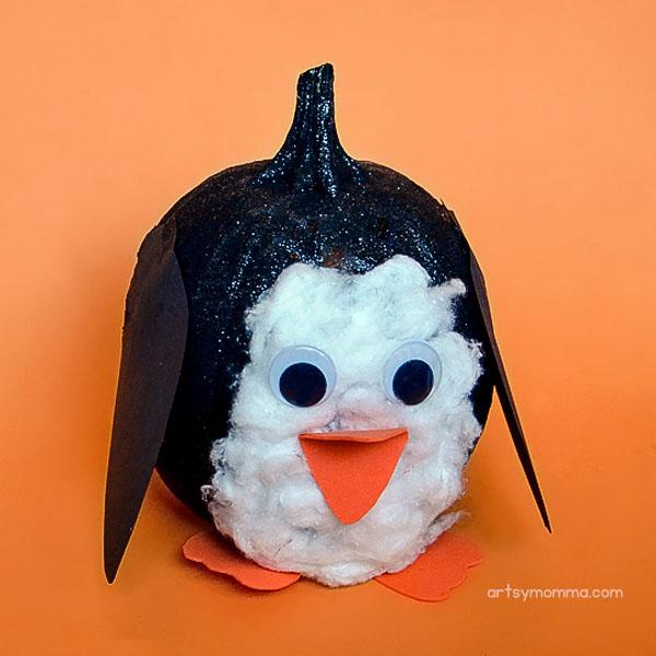 Painted Pumpkin Decorated like a Penguin – Kids Halloween Idea